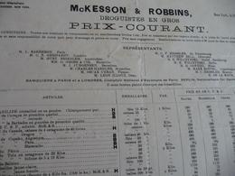 Tarif Prix 1900 New York Kesson Robin Droguiste 2 X A3 - United States