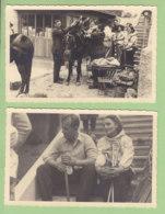 SAAS GRUND, Valais Suisse, 15 Mai 1948 : Chargement Des Anes, Escaliers. 2 Photos Originales. Allalinhorn - Luoghi
