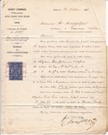 Lettre 1878 Crédit Lyonnais Lyon Place Les Terreaux Timbre Fiscal Type Sage Tournon Ardèche Montgolfier Notaire - Fiscaux