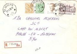 Belgique 1985 - Lettre Recommandée St SEVERIN à Chasseurs Ardennais, Marche-en-Famenne - Luxembourg - Cob1903/2126/2149/ - Belgique