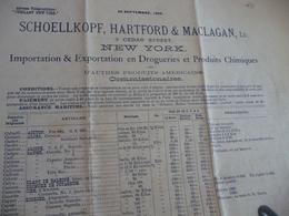 Tarif Prix 1895 New York Schoellkopf Hartford Maclagan Cedar Street  2 X A3 - United States