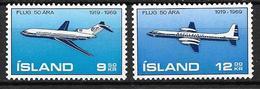 Islande 1969 Poste Aérienne N° 32/33 Neufs ** MNH,50 Ans Aviation Islandaise - Poste Aérienne