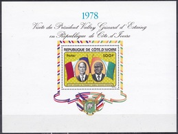 Elfenbeinküste Ivory Coast Cote D'Ivoire 1978 Persönlichkeiten Präsidenten D'Estaing Fahnen Flaggen Flags, Bl. 9 ** - Côte D'Ivoire (1960-...)
