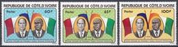 Elfenbeinküste Ivory Coast Cote D'Ivoire 1978 Persönlichkeiten Präsidenten D'Estaing Fahnen Flaggen Flags, Mi. 533-5 ** - Costa De Marfil (1960-...)