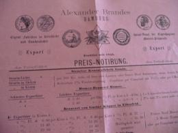 Pub Tarif Preis Notirung Médailles Brandes Hamburg Export 1888? - Allemagne