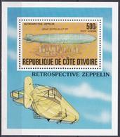 Elfenbeinküste Ivory Coast Cote D'Ivoire 1977 Transport Luftfahrt Aviation Luftschiffe Zeppelin Airships, Bl. 8 ** - Côte D'Ivoire (1960-...)