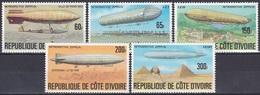 Elfenbeinküste Ivory Coast Cote D'Ivoire 1977 Transport Luftfahrt Aviation Luftschiffe Zeppelin Airships, Mi. 517-1 ** - Côte D'Ivoire (1960-...)