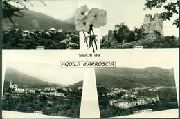 Cartolina - CV108 AQUILA D'ARROSCIA (Imperia) Saluti Da, 4 Vedutine, FG BN, Viaggiata 1982, Ottime Condizioni - Imperia