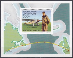 Elfenbeinküste Ivory Coast Cote D'Ivoire 1977 Transport Luftfahrt Aviation Flugzeuge Aeroplanes Lindbergh, Bl. 7 ** - Côte D'Ivoire (1960-...)