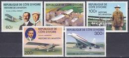 Elfenbeinküste Ivory Coast Cote D'Ivoire 1977 Transport Luftfahrt Aviation Flugzeuge Aeroplanes Concorde, Mi. 511-5 ** - Côte D'Ivoire (1960-...)