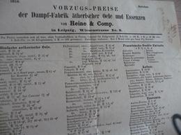 Pub Tarif Preis Allemagne Leipzig 1859 Dampf Fabrik Oele Essenzen - Allemagne
