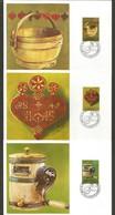 Liechtenstein 1980  Mi.Nr. 747 / 749 , Alte Alpwirtschaftsgeräte - Maximum Cards - Vaduz  9 September 1980 - Maximumkarten (MC)