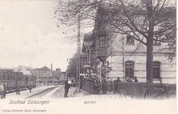 910/ Soolbad Salzungen, Bahnhof, Trein, Mensen - Germania