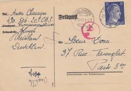 CARD NO FELDPOST GERMANY.  1943 SOLINGEN TO FRANCE . GERMAN CENSOR. - Ohne Zuordnung