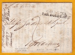 1822 - LAC De 3 Pages Manuscrite & Imprimée En Allemand De La Havane, Cuba, Espagne Vers Bordeaux, France - Postmark Collection (Covers)