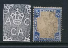MALAYA, 1904, 8c Wmk Sideways Grey-brown Very Fine, SG41b, Cat £6 - Federated Malay States