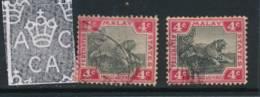 MALAYA, 1904, 4c Black & Rose + Jet-black & Rose Very Fine, SG36d,36f - Federated Malay States