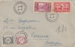 LETTRE. COVER. ALGERIA. 1939. HOTEL DE L'OASIS ALGER TO TOURNAI BELGIQUE. DUE 1,80F BELGIUM  /  2 - Ohne Zuordnung