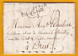 1805 - LAC Personnelle De 3 Pages De La Havane, Cuba, Espagne Vers Brest - Entrée COLONIES Par Bordeaux, France - Marcophilie (Lettres)
