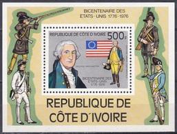 Elfenbeinküste Ivory Coast Cote D'Ivoire 1976 Geschichte Unabhängigkeit Independence USA George Washington, Bl. 6 ** - Côte D'Ivoire (1960-...)