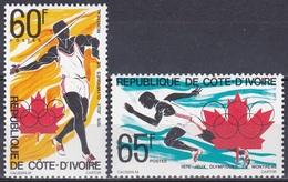 Elfenbeinküste Ivory Coast Cote D'Ivoire 1976 Sport Spiele Olympia Olympics Montreal Speerwerfen Laufen, Mi. 491-2 ** - Côte D'Ivoire (1960-...)