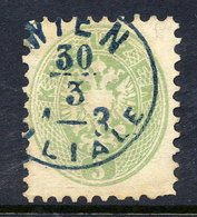 AUSTRIA  1863 Arms 3 Kr. Perf. 9½  With Blue Postmark.  Michel 31 - 1850-1918 Empire