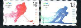 2096 Slowenien Slovenia 2018 Mi.No. 1291 - 1292 ** MNH Olympic Winter Games PyeongChang South Korea Hockey Ski - Winter 2018: Pyeongchang