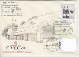 Moldova , Moldavie , Moldau  , 2017 , Cricova Winery - 65 Years , Wine , Grapes ,   Pre-paid Envelope  , FDC - Moldova