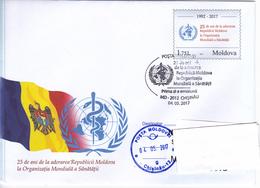 2017 , Moldova , Moldavie , International Health Organization , Medicine ,  25 Years Of Entry Of Moldova , Flag ,  FDC - Moldova