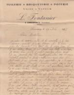 CORRESPONDANCE TUILERIE BRIQUETERIE POTERIE  FONTANIER - USINE A VAPEUR A LENCOUACQ - 40 LANDES - France
