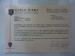 """Lettera  Commerciale """"GORLA  - SIAMA FABBRICHE RIUNITE PER APPARECCHI ELETTROMEDICI MILANO"""" 1 Aprile 1940 - Italia"""