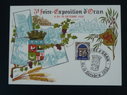 Carte Maximum Card Blason Armoiries Coq Rooster Foire Exposition Oran Algérie 1952 - Algérie (1924-1962)