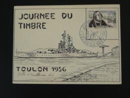 Carte Avec Vignette Journée Du Timbre Toulon 1956 - Expositions Philatéliques