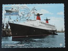 Carte Maximum Card Paquebot France Compagnie Generale Transatlantique Le Havre 1962 - Ships