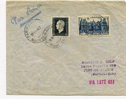 RC 11004 FRANCE 1947 LETTRE 1er VOL FRANCE MARTINIQUE + VIGNETTE FFC - Storia Postale