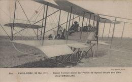 Buc : Paris-Rome, 28 Mai 1911 - Biplan Farman Piloté Par Prince De Nyssol Faisant Son Plein D'automobiline - Buc