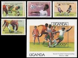 # Uganda 1986**Mi.460-64  Football World Cup, Mexico , MNH  [20;13] - World Cup