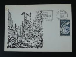 Carte Maximum Card Télégraphe Chappe Telegraph Flamme Concordante 67 Saverne 1973 - Télécom