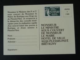 Carte Avec Vignette Sabine De Gandon Pétition Pour Une Nouvelle Poste à Brétigny Sur Orge 91 Essonne 1978 - Erinnophilie