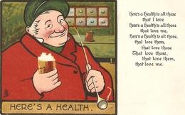 """Ernest Aris. Here's A Health"" Tuck Humorous Quaint Heads Series PC # 1305 - Tuck, Raphael"