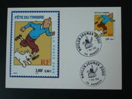 Carte Maximum Card Tintin Fête Journée Du Timbre Philexjeunes 2000 Annecy - Bandes Dessinées