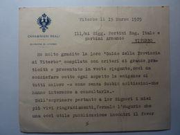 """Cartoncino """"CARABINIERI REALI DIVISIONE DI VITERBO   15 Marzo 1925 Maggiore Comandante A. BORTOLI"""" - Cartoncini Da Visita"""