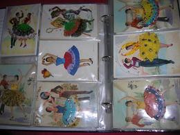 !! Lot énorme !! 182 Cpsm/cpm Fantaisie 10x15 Carte Brodée Fil De Soie Et Tissus Dans Un Album ! Aux Encheres ! - Brodées