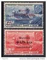 Inde N° 231/32   XX  Temple Près De Pondichéry Et Effigie Du Mal Pétain Surchargés  La Paire Sans Charnière,  TB - India (1892-1954)
