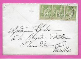 Lettre Type Sage 5c X3 Oblitération Nantes Loire Infre 1901 Pour VERSAILLES - Poststempel (Briefe)