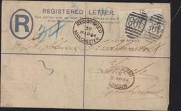 Two P Dentelés à Sec Coloration Partie ? Killer 498 CAD Registered Manchester 38 8 Ap 1884 + Registered London - Briefe U. Dokumente