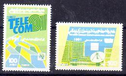 7.10.1991; TELECOM, Mi-Nr. 1868 + 69, Druckphase Blau Und Gelb, Los 50842 - Libya