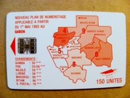 Chip Phonecard Plastic Card From Gabon 1993 Map 150 Unites - Gabon