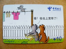 Phonecard Plastic Card From China Telecom Animals Cats Cat Mouse Comics 10y - Chine