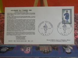 Journée Du Timbre 1968 Facteur Rural 1830 (75) Paris - 16.3.1968 FDC 1er Jour - Coté 3€ - FDC